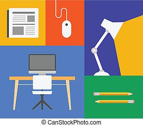 oggetto, ufficio, colorito