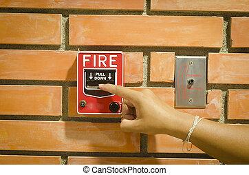 ogień alarm, witka, dla, przedimek określony przed rzeczownikami, asekuracyjny system, w, przedimek określony przed rzeczownikami, budowa.