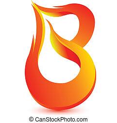 ogień, b, litera, wizerunek, projektować, wektor