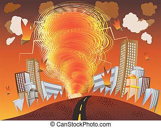 ogień, cyklon