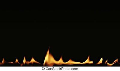 ogień, czarne tło, płomienie, taniec