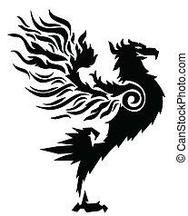 ogień, do góry, silny, ptak, stać