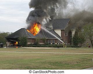 ogień dom, ładny