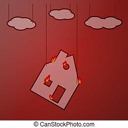 ogień dom, zielone tło