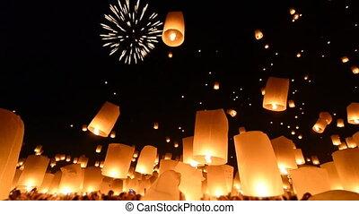 ogień, dużo, latarnie, niebo, tajlandia