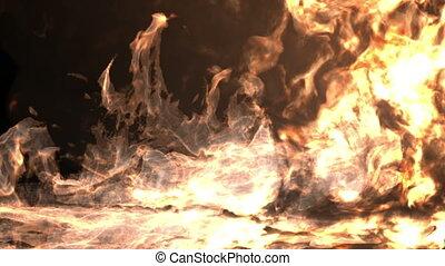 ogień, ekran, nabija