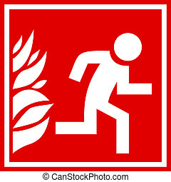 ogień, ewakuacja, znak