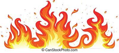 ogień, gorący, biały