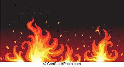 ogień, gorący
