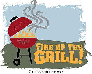 ogień, grill!, do góry, bbq