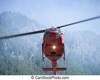 ogień, helikopter, 2