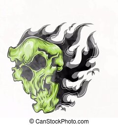 ogień, ilustracja, czaszka, płomienie