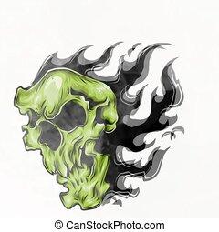 ogień, ilustracja, płomienie, czaszka