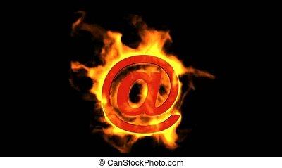 ogień, @, internet, poczta, symbol.