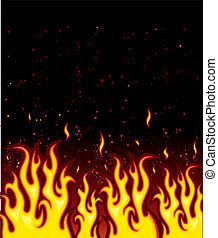 ogień, jarzący się, tło