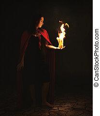 ogień, kobieta, piłka