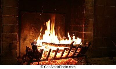 ogień, kominek, kamień, starożytny, płonie