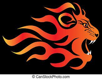 ogień, lew, czarnoskóry, rozżarty