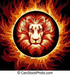 ogień, lew, koło, zodiak, znak