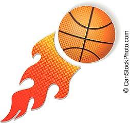 ogień, logo, koszykówka