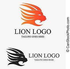 ogień, logo, lew
