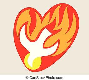 ogień, logo, miłość, duch, święty