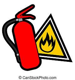 ogień, niebezpieczeństwo znaczą
