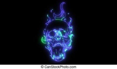 ogień, ożywienie, laser, płomienie, czaszka
