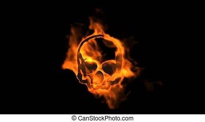 ogień, płonący, czaszka, symbol.