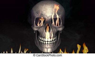 ogień, płonący, czaszka