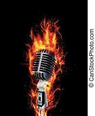 ogień, płonący, mikrofon