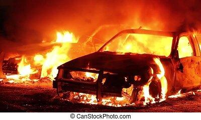ogień, pełno, zwinięty, policja, wozy