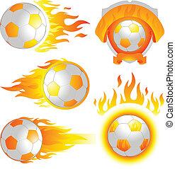 ogień, piłka nożna, emblemat