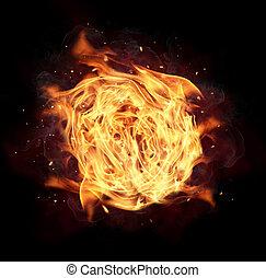 ogień piłka, odizolowany, na, czarne tło