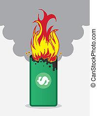 ogień, pieniądze