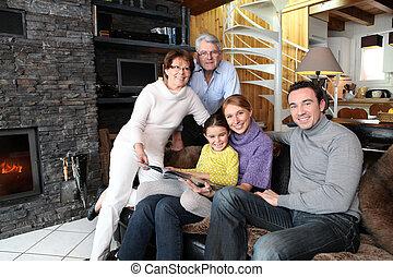 ogień, przód, rodzina, posiedzenie