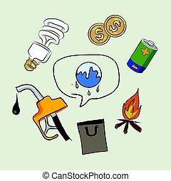 ogień, rys, nafta, kolor, pieniądze, globalny, elektryczność, lampa, ziemia, ikona, rysunek, ocieplać, zniszczenie