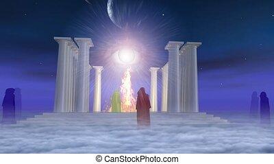 ogień, starożytny, świątynia