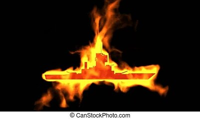 ogień, symbol, statek, chaser, płonący