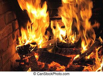 ogień, szczelnie-do góry, kominek, płonący