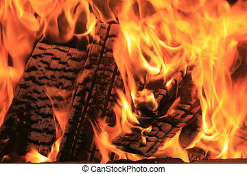 ogień, szczelnie-do góry, płonący