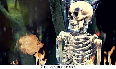 ogień, szkielet