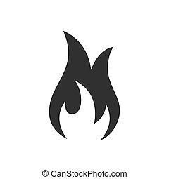 ogień, tło., biały, ikona, znak