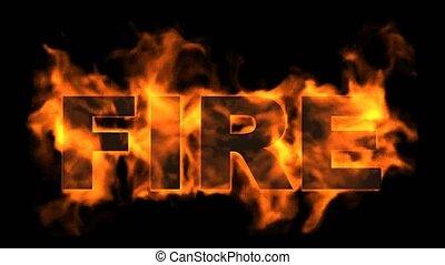 ogień, text., płonący