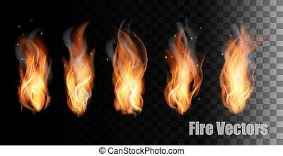 ogień, vectors, na, przeźroczysty, tło.