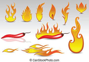 ogień, vectors, projektować, płomienie, ikona