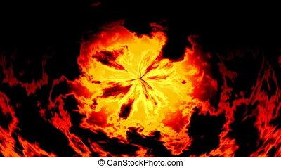 ogień, video, seamless, płonący, pętla
