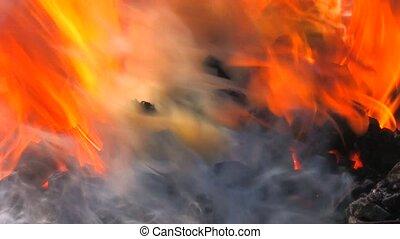 ogień, węgiel, fałszować, iskry