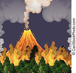 ogień, wybuchająy, volanco, scena