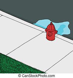 ogień, wyciek, hydrant